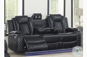 Orion Black Leather Reclining Sofa With Power Headrest And Footrest