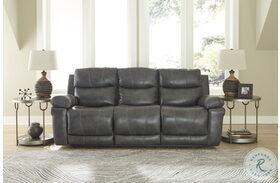 Edmar Charcoal Power Reclining Sofa With Adjustable Headrest