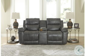 Edmar Charcoal Power Reclining Console Loveseat With Adjustable Headrest