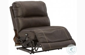 Dunleith Chocolate Armless Power Recliner With Adjustable Headrest