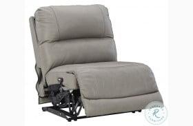 Dunleith Grey Armless Power Recliner With Adjustable Headrest
