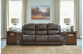 Buncrana Chocolate Leather Power Reclining Sofa with Adjustable Headrest
