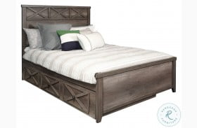 Xavier Gray Youth Panel Bed with Trundle Storage Unit
