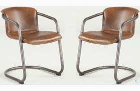 Regina Distressed Brown Leather Dining Chair Set of 2