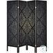 901632 Black Damask 4 Panel Folding Screen