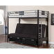 Clifton Silver and Black Futon Base Twin Size Loft Bed