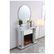 """Modern Crystal White 47.5"""" Mirrored Mantle With Wood Log Fireplace"""